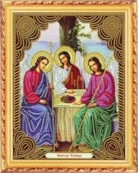 Алмазная Вышивка (мозаика) - Икона - Святая Троица - на деревянном подрамнике, размер (27*33)